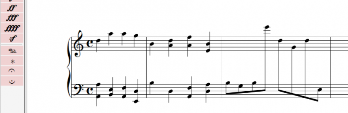 Music Jotter supports cross staves.  Select the notes you wish to cross staff, click the