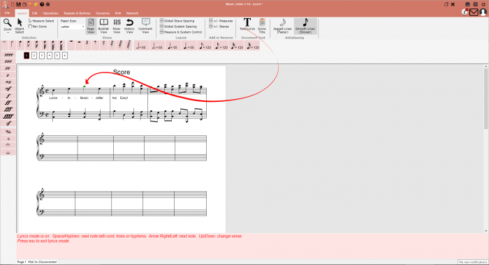 Lyrics are supported in Music Jotter.  Click the