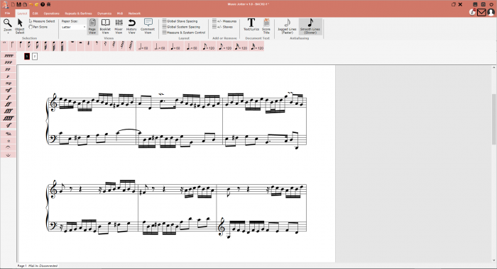 The main layout of Music Jotter, with a score, and the main layout tab selected.  Your Young Composers login credentials are used to log in, and you will see your notifications and inbox at the top right.