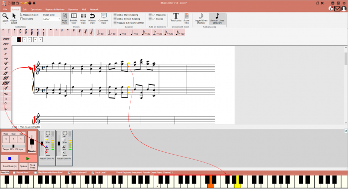 Music velocity is color coded in Music Jotter.  Dark red indicates a loud velocity, yellow indicates medium velocity and green indicates a soft velocity.