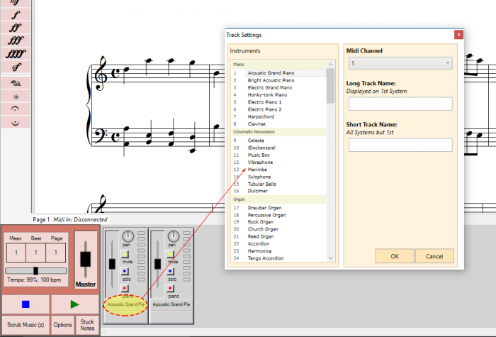 Each staff has its own track view.  You can pan, mute, solo, update an instrument and view the staff virtual keyboard.